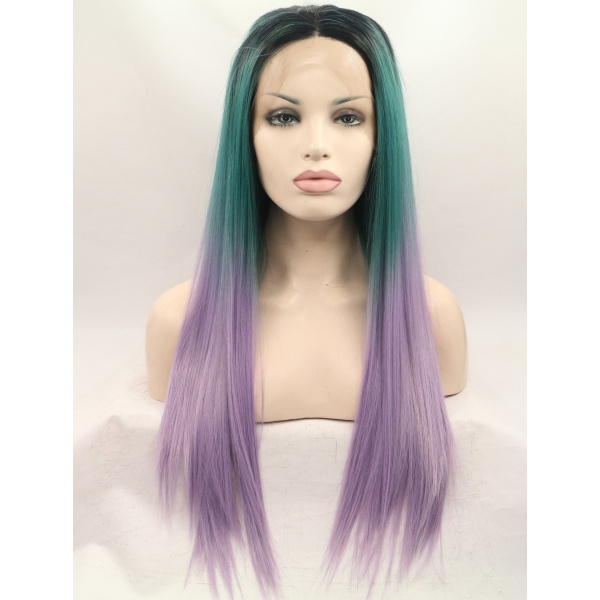 Good 26 Inches Without Bangs Straight Colorful Wigs Lace Front
