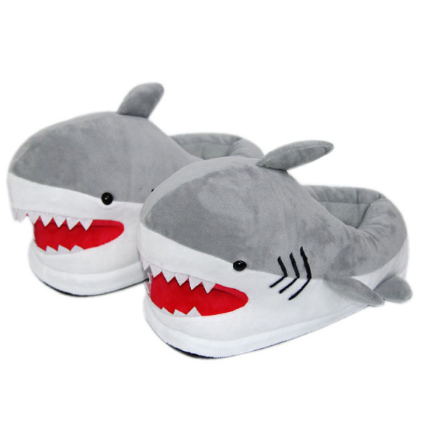 Unisex Plus Size Cute Cartoon Shark Slippers Fur Slides Indoor Velvet Shoes For Halloween Cosplay Costumes Party